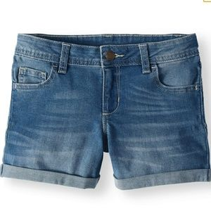 NWT - Girls Denim Rolled Cuff Shorts 14